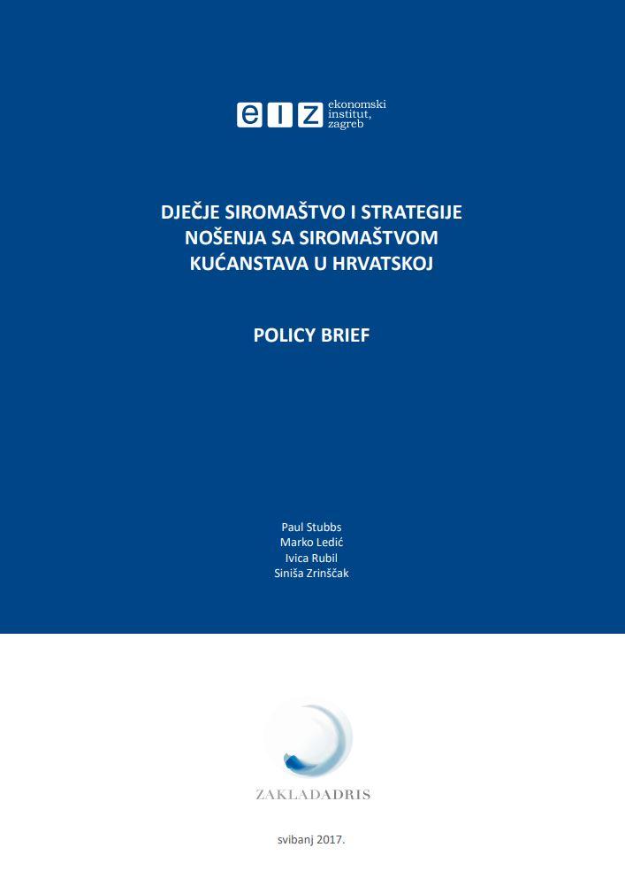 prikaz prve stranice dokumenta Dječje siromaštvo i strategije nošenja sa siromaštvom kućanstava u Hrvatskoj : policy brief