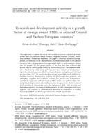 Aktivnosti istraživanja i razvoja (I&R) kao faktor rasta malih i srednjih poduzeća u stranom vlasništvu u odabranim zemljama srednje i istočne Europe